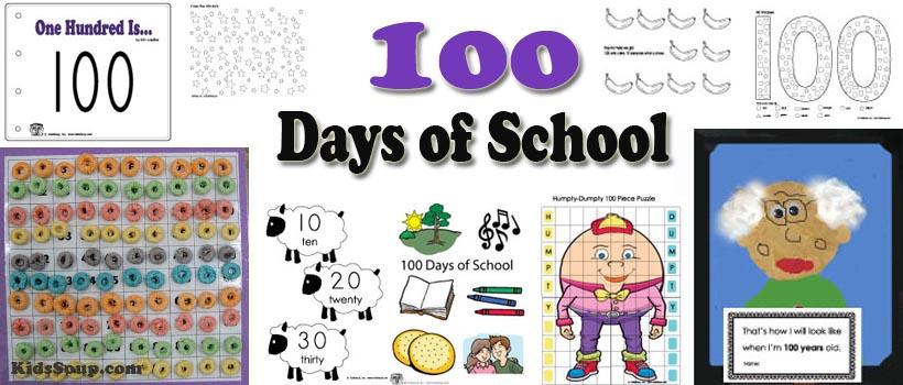 100 days of school activities, games, and printables for kindergarten and preschool