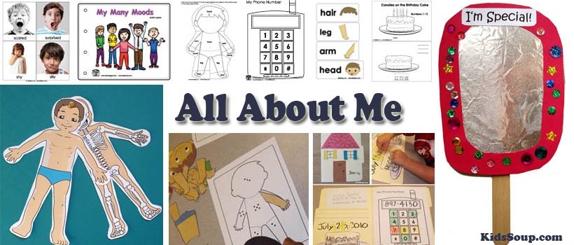 preschool and kindergarten all about me activities, lessons, and craft