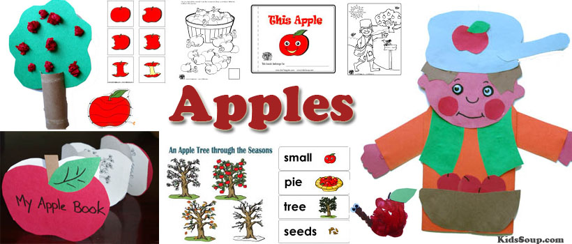 Apples preschool and kindergarten activities, crafts, and games