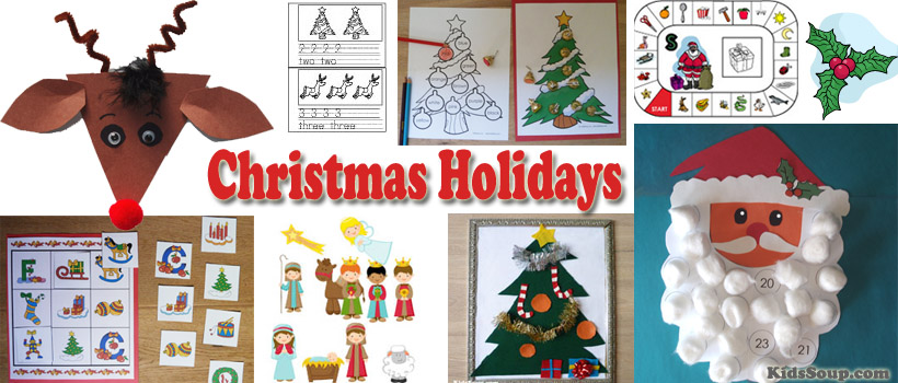 Christmas Holidays activities, crafts, and games for preschool and kindergarten