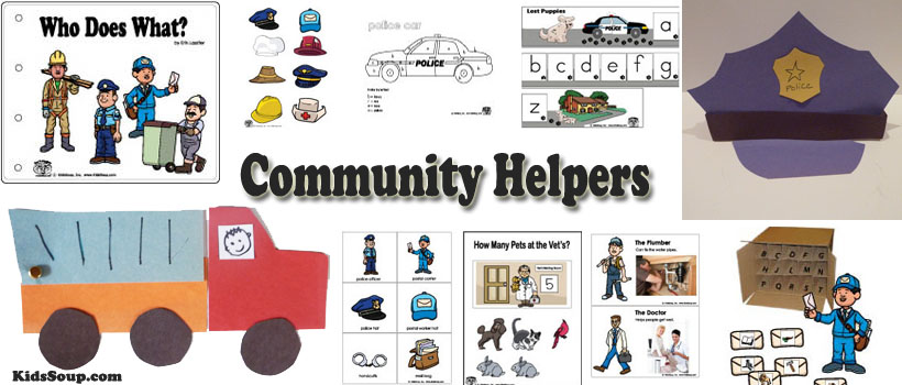 Preschool and kindergarten community helpers activities and crafts