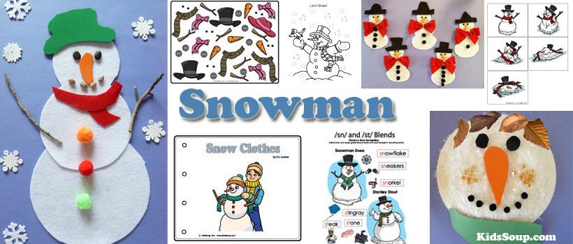Snowman crafts, activities, games for preschool and kindergarten