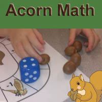 Preschool Kindergarten Squirrel and Acorns Math Activities and Game