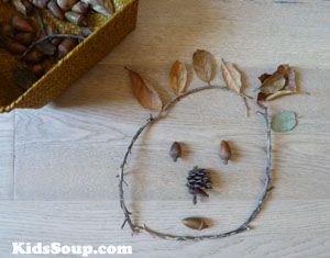 Fall nature items artwork activity for preschool