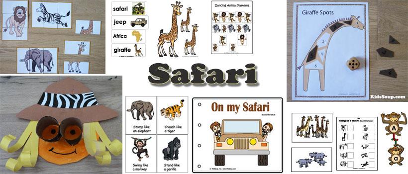 Safari animals preschool and kindergarten activities and crafts