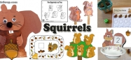 Squirrels craft and activities for preschool and kindergarten